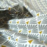 Tissu japonais Paon gris