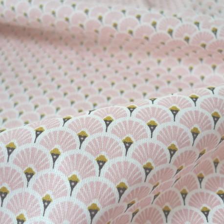 Tissu japonais Eventails rose
