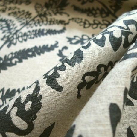 Tissu lin Fougères noires