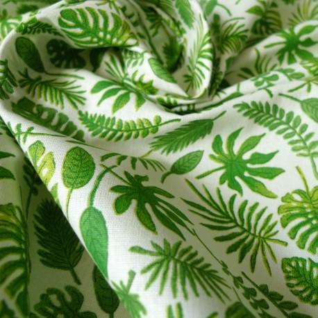 Tissu coton mini feuilles vert