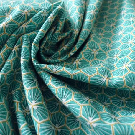 Tissu coton Riad turquoise
