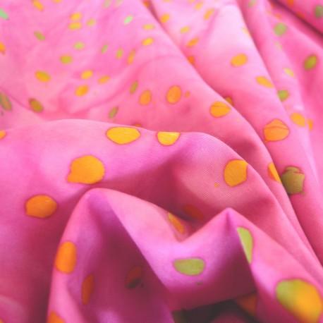 Tissu Batik Pois rose