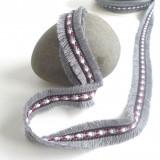 Galon jacquard plumette gris