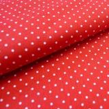 Tissu coton petits pois blancs sur fond rouge