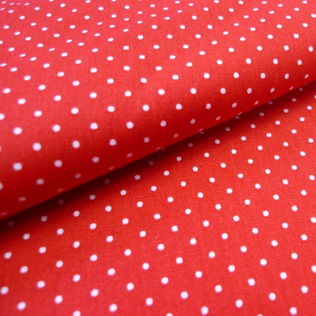 Tissu coton petits pois rouge
