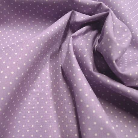Tissu coton petits pois parme