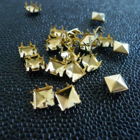 Rivets à griffes pyramide 9 mm Or