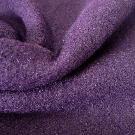 Tissu laine bouillie prune