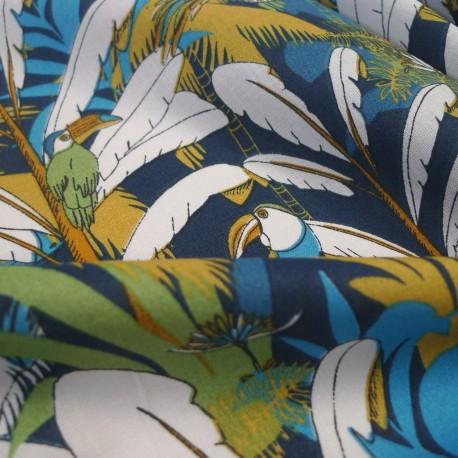 Tissu Oiseau de Paradis blue