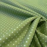 Tissu coton petits pois vert