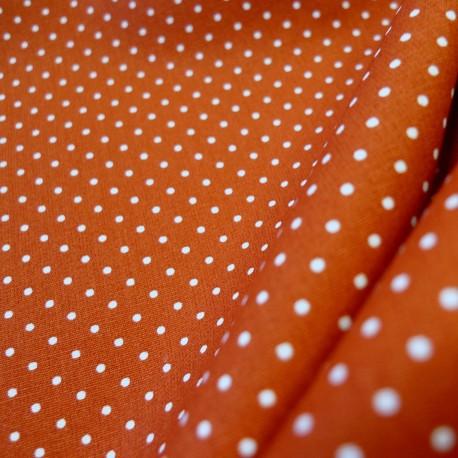 Tissu coton petits pois tomette