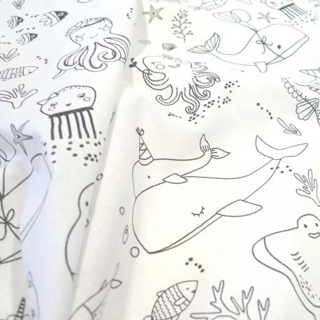 Tissu à colorier Créatures marines