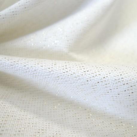 Toile Filigrane blanc lurex or