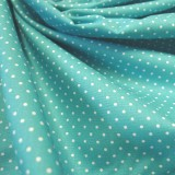 Tissu petits pois turquoise