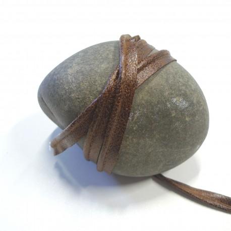 Passepoil faux cuir vieilli marron