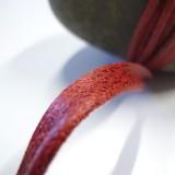Passepoil faux cuir vieilli rouge