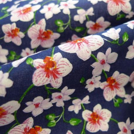 Tissu Bouquet marine