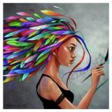 Coupon illustré Feathers gris