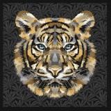 Carré jacquard Tigre noir
