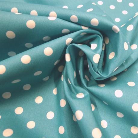 Tissu coton gros pois turquoise
