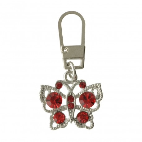 Tirette zip strass Papillon rouge