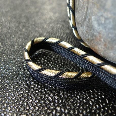 Passepoil tissé Couture or noir