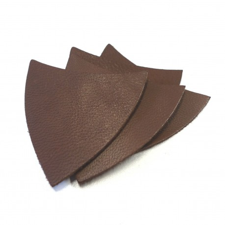 Lot écussons cuir chocolat