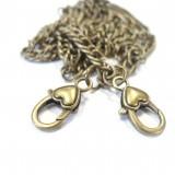 Chaine de sac amovible coeur bronze