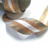 Sangle rayée taupe lurex bronze