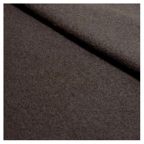 Tissu laine bouillie marron chocolat