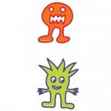 Planche transfert  monstres orange