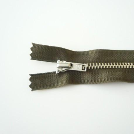 Fermeture à glissière métal kaki