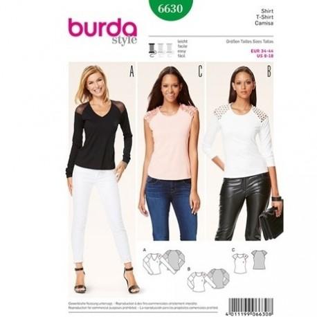 Patron T Shirt femme Burda 6630