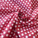 Tissu coton rouge pois blanc