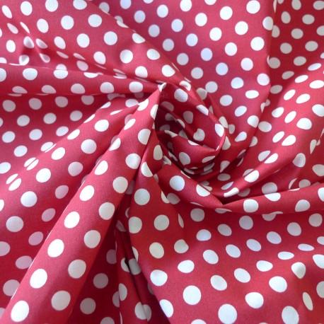 Tissu coton rouge  gros pois blanc