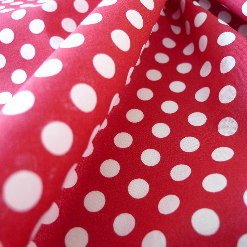tissu coton rouge pois blanc tissus. Black Bedroom Furniture Sets. Home Design Ideas
