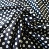 Tissu coton gros pois blancs sur fond noir