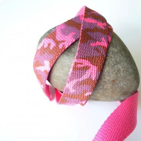 Sangle coton camouflage rose