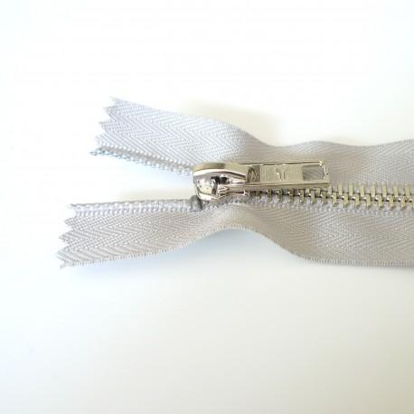 Fermeture  à glissière métal gris perle