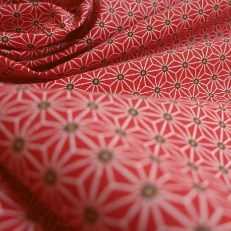 Tissu japonais Fuji rouge