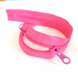 Zip  double curseur centre fushia