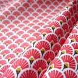 Tissu japonais Eventails rouge