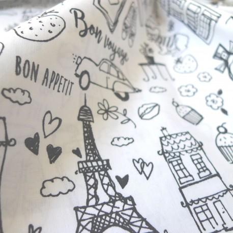 Tissu à colorier Paris