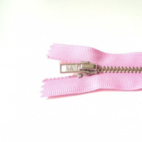 Fermeture à glissière métal rose girly