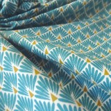 Tissu japonais Paon turquoise
